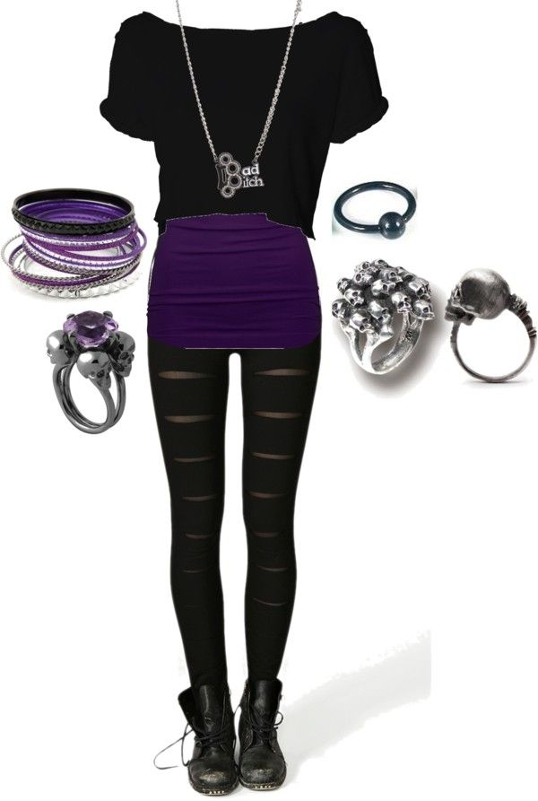 """Black and Purple 3"" by bvb3666 ❤ liked on Polyvore"