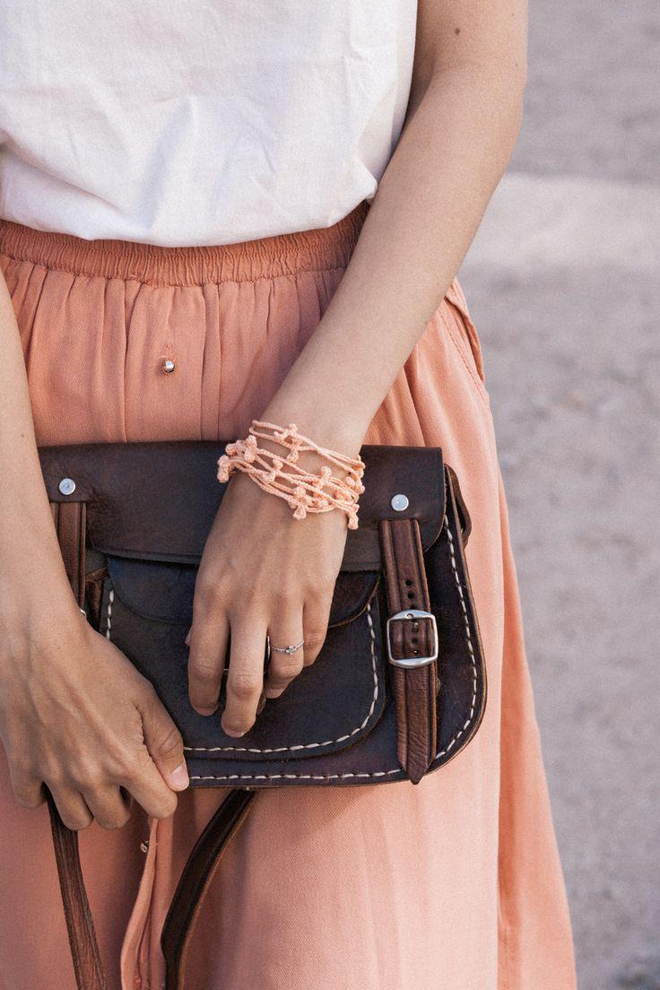 SALE Peach crochet bracelet #handmade #crochet #summersale