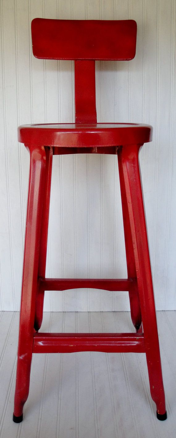 Vintage Industrial Red Metal Stool by TheNewVintageHome on Etsy, $65.00