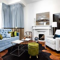 Toronto Interior Design Group - living rooms - antique, gold, table, cabriolet legs, white, modern, velvet, chair, black, cowhide, rug, round, green, velvet, tufted, storage, ottoman, blue, velvet, tufted, modern, sofa, fireplace, art deco, floor screen, two-tone, blue, beige, silk, drapes, green, blue, pillows, blue sofa, velvet sofa, tufted sofa, modern sofas, blue velvet sofa, blue tufted sofa, blue velvet tufted sofa, modern blue sofas, Hans Wegner Wishbone Chair,