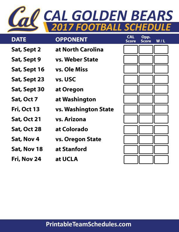 2017 Cal Golden Bears Football Schedule