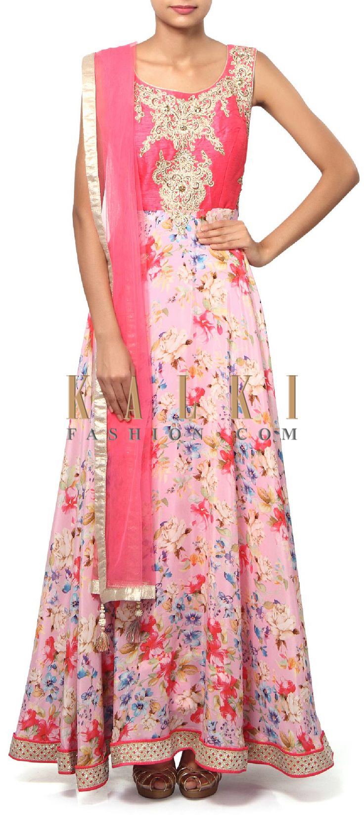 Buy Online from the link below. We ship worldwide (Free Shipping over US$100). Product SKU - 310200.Product Link - http://www.kalkifashion.com/pink-anarkali-suit-adorn-in-zari-and-kundan-embroidery-only-on-kalki-19028.html