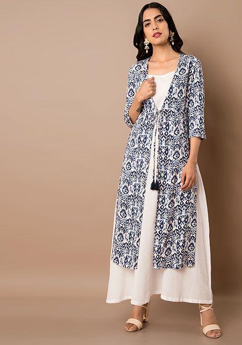 631511c18dae Blue Aztec Print Jacket With White Tunic