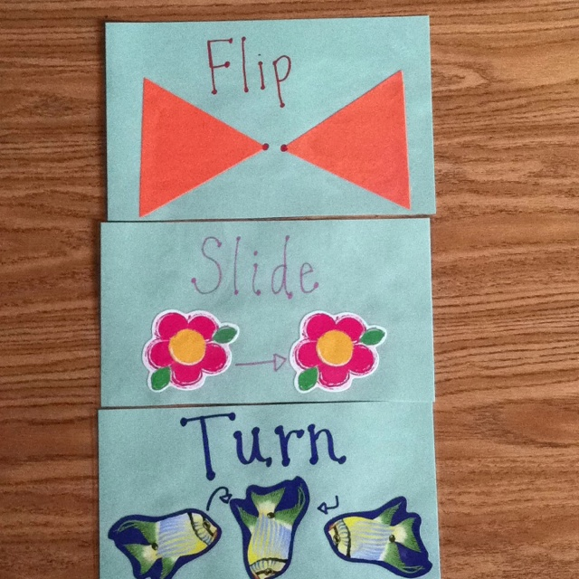 Flips, slides and turns! Using stickers students can create their own reference.