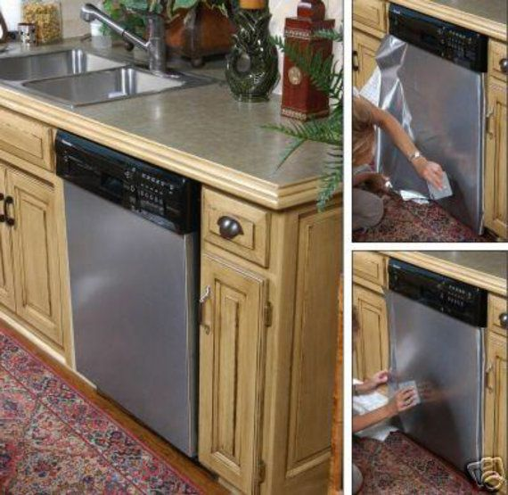 Update Dishwasher To Our Faux Fake Stainless Steel Film As
