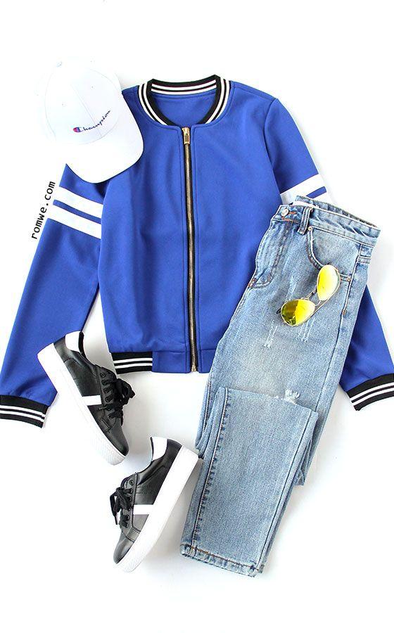 Royal Blue Varsity Striped Zip Up Jacket