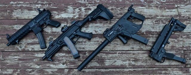 """Welcoming a new addition to the family!  sigsauerinc MPX-P in 9mm. Featuring aluminum hand guard, 8"""" barrel, flip up sights, and options to change barrel lengths and calibers! Pictured with: CZ-USA firearms Scorpion EVO 3 S1 with PSB from Sig Sauer.  KRISS Arms Vector CRB in .45ACP with side folding stock.  Kel-Tec Sub 2000 9mm Glock"""