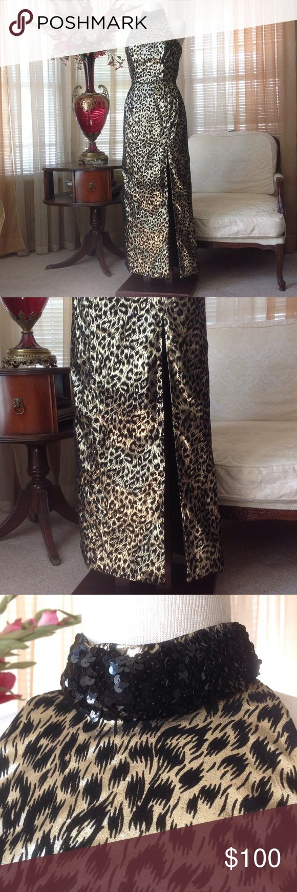 "Mike Benet formal gold and black long dress In excellent condition except for the 2 tiny holes in the lining. Please see photo.. Color is a combination of gold and black. It is 61"" long  measuring on the mannequin.  Black design is embossed velvet print.                                   a Mike Benet Dresses Maxi"