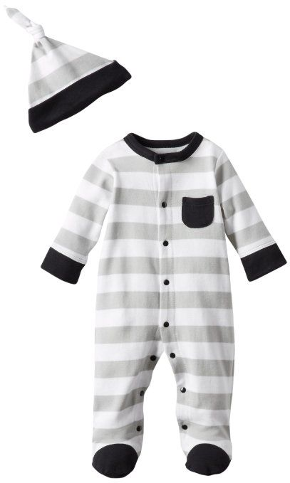 Amazon.com: Offspring - Baby Apparel Boys Newborn Stripe Footie And Hat, White Multi, 9 Months: Clothing