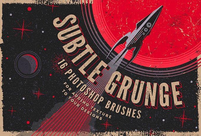 16 Subtle Grunge Photoshop Brushes Collection
