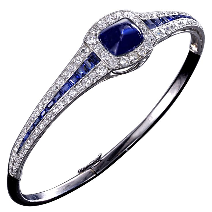 Art Deco platinum, sapphire and diamond bangle bracelet