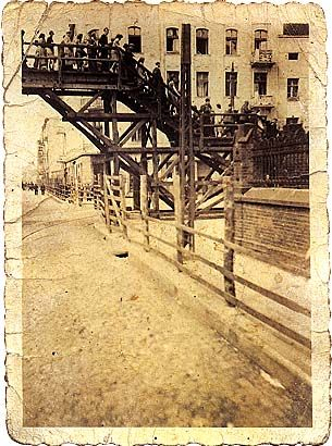 bridge over Zgierska street passage in Lodz ghetto from one section to another For everyone to see - And I Still See Their Faces
