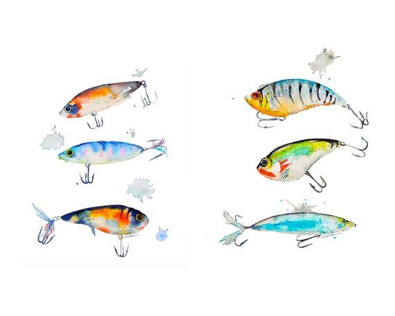 Fishing Lure Watercolor Art Print Wall Art Watercolor Painting