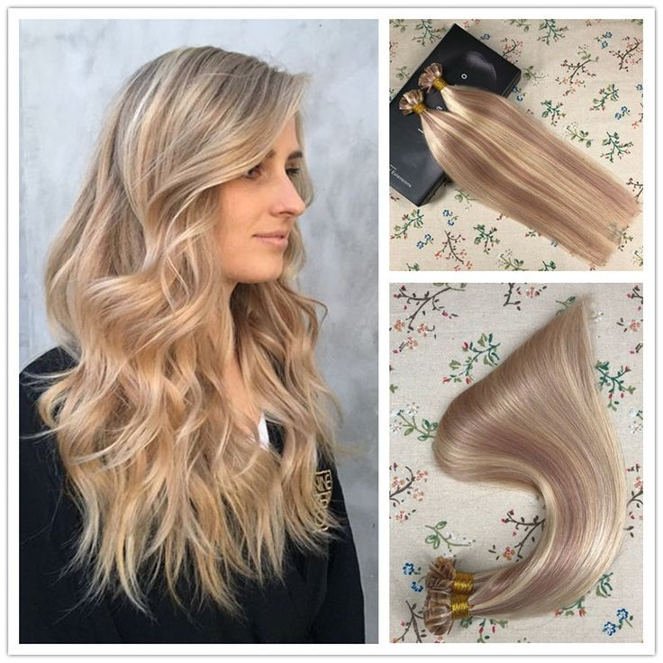 Flat Tip Keratin Pre Bonded Fusion Remy Human Hair Extensions Ash Brown Highlights With Blonde #P18/613 1g/S 50g Per Pack