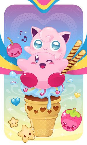 I'm sorry, but this is way too cute. Kirby, Jigglypuff, and cute food... I would put more pokemon tipe fary that was more cute