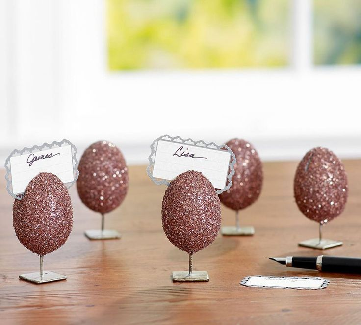 German Glitter Egg Place Card Holder, Mixed Set of 4
