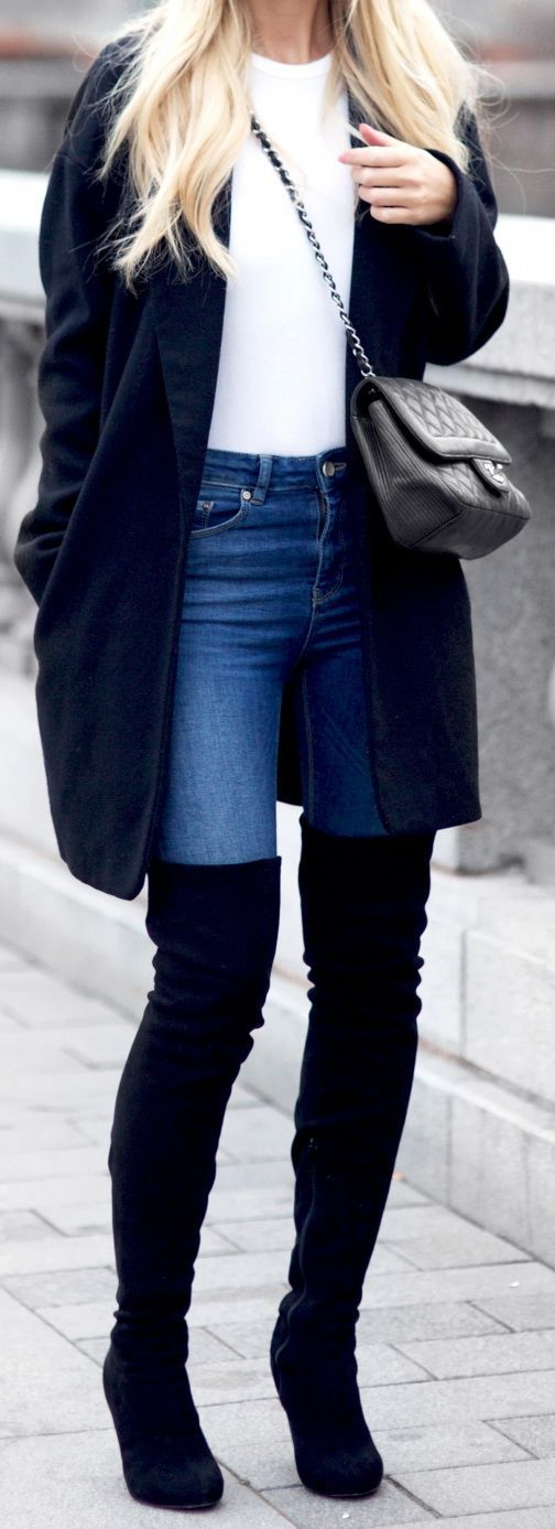 #Winter #Outfits / Navy Coat - Over the knee black boots