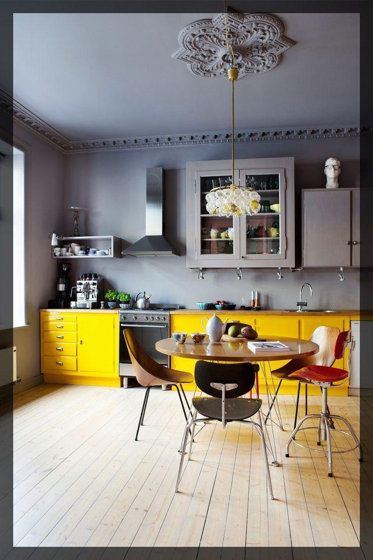 Carnet d 39 inspiration pour cuisine jaune vintage jaune et cuisine for Cuisine peinte en jaune