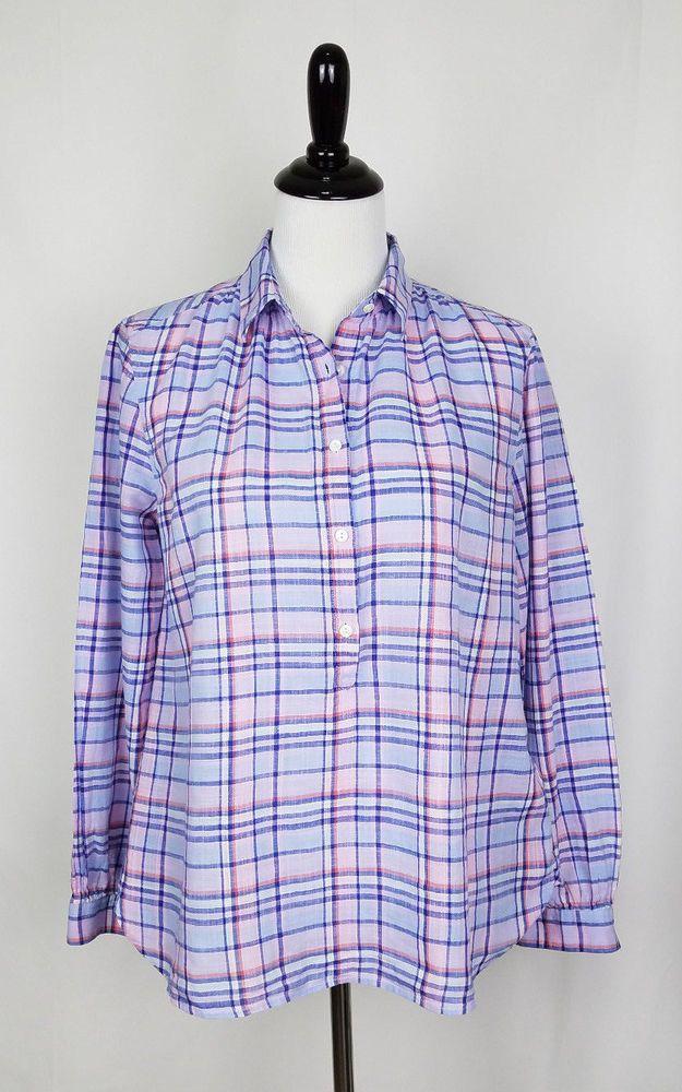 Details About J Crew Womens Sz 6 L S Blues Pinks 100 Cotton
