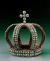 The Nuptial Crown/Coronet of the Romanov Brides. This crown, made from sections of a diamond belt was used by members of the Romanov Imperial Family to adorn the head of their brides. It was worn at the back of the head in conjunction with the Pink diamond Tiara which was worn above the brow. It came to America after it was purchased by a collector at the famous sale of the Imperial Jewels by the Communist Government after the Russian Revolution