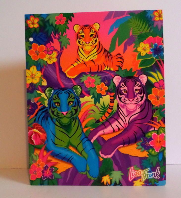 Vintage ALOHA! Lisa Frank 3 Tigers Pocket Folder for Trapper Keeper Binder #LisaFrank #vintage