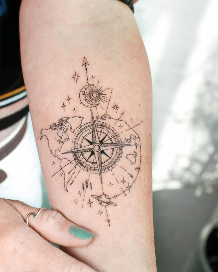 Be your own compass in 2021 | Whimsical tattoos, Globe tattoos, Feminine compass tattoo