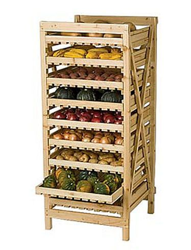 I hope that I grow enough to fill something like this. Orchard Rack, 9 Drawer ~from Gardener's Supply