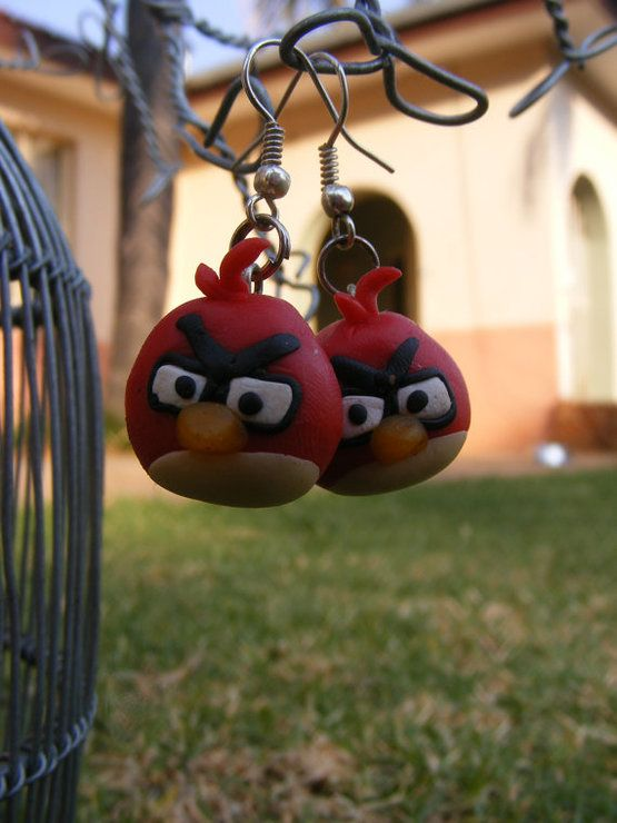 Red angry bird earrings by Creating Candy for sale on http://hellopretty.co.za