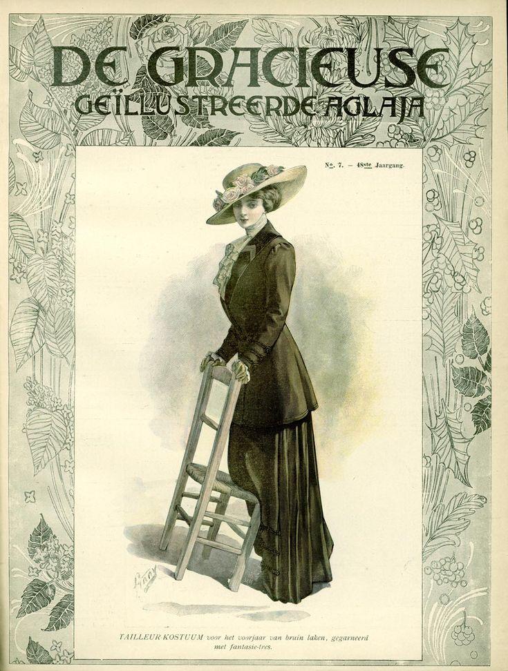 [De Gracieuse] Tailleur-kostuum voor het voorjaar van bruin laken, gegarneerd met fantasie-tres (April 1910)