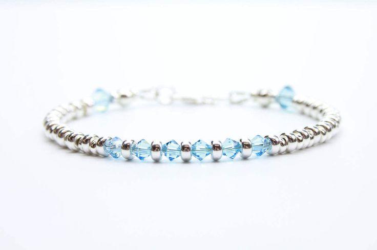 Aqua Birthday Bracelet, Custom Birthstone Bracelet, March Birthday Gift, Blue Crystal, Dainty Silver Beaded Bracelet, Minimalist Stackable by DaintyandPrecious on Etsy