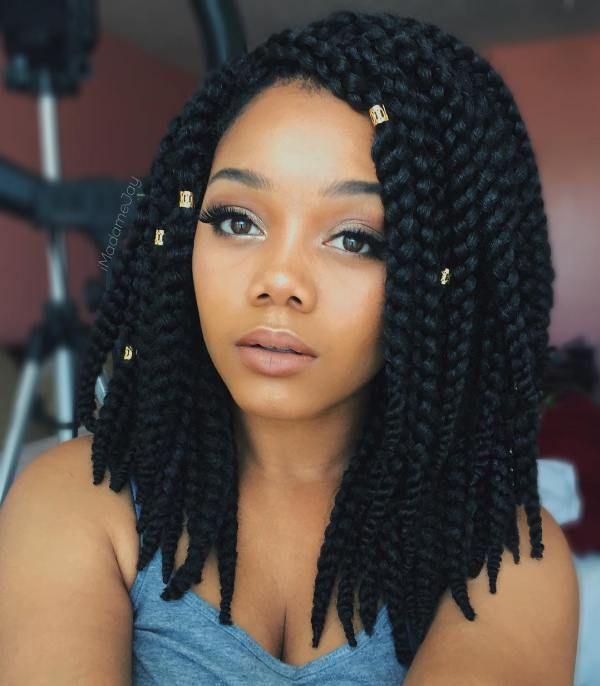 Thick box braids hairstyles