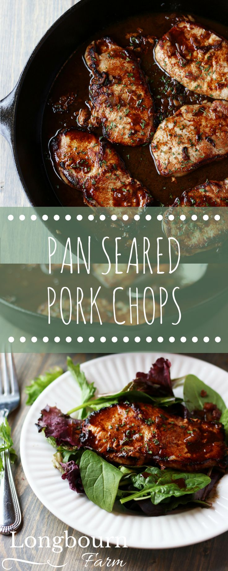 Pan seared pork chops with an incredible marinade are perfect for a quick weeknight meal. Family friendly food, delicious over salad or something else!