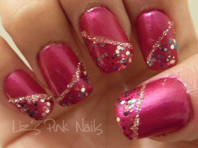 fuchsia and sparkles nail art....a granddaughter find