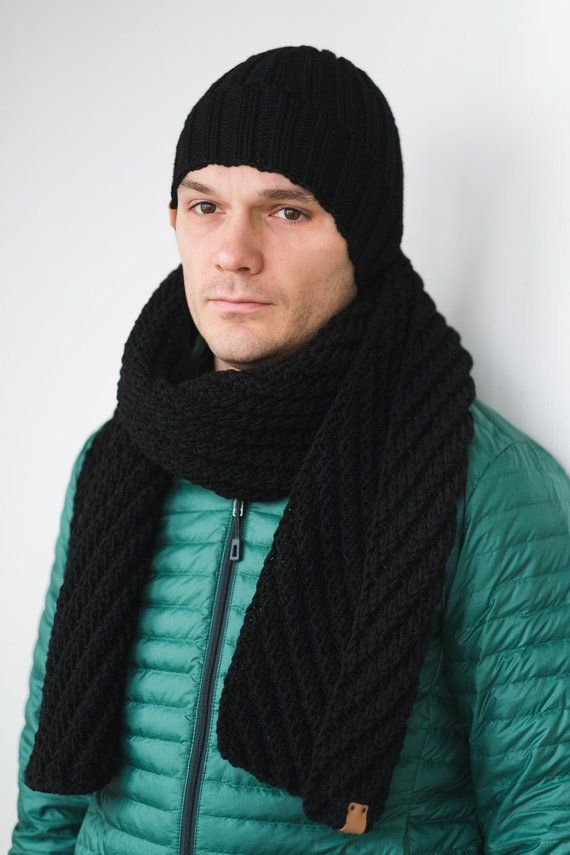 84798fd4acf45 CUSTOM Color Mens Winter Set Wool Hat Scarf for Man gift for