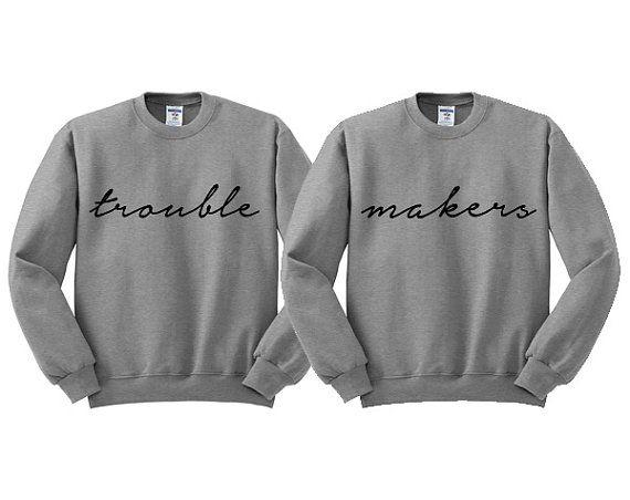 Grey Crewneck  Trouble Makers  Best Friends by TeesAndTankYouShop