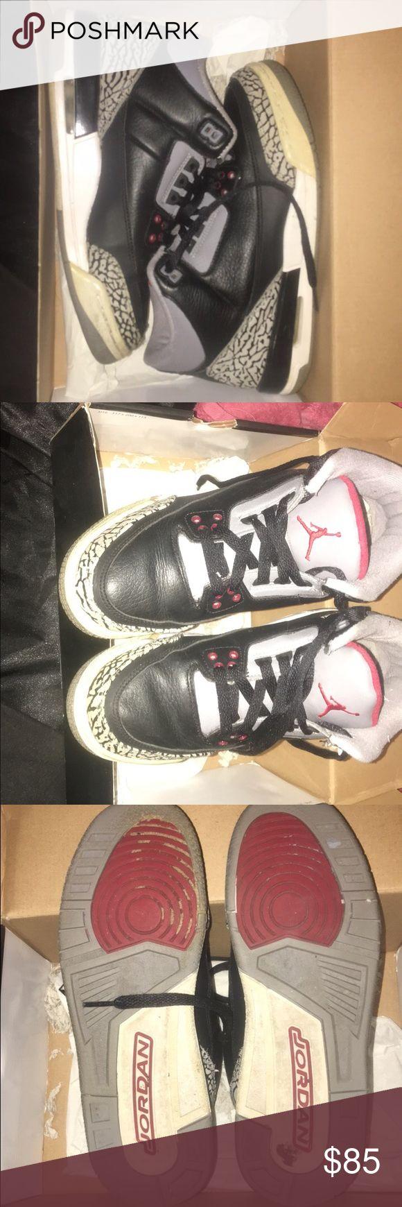 Jordan Cement 3s Kids size 6 = Womens 8 Used. Jordan Shoes Sneakers