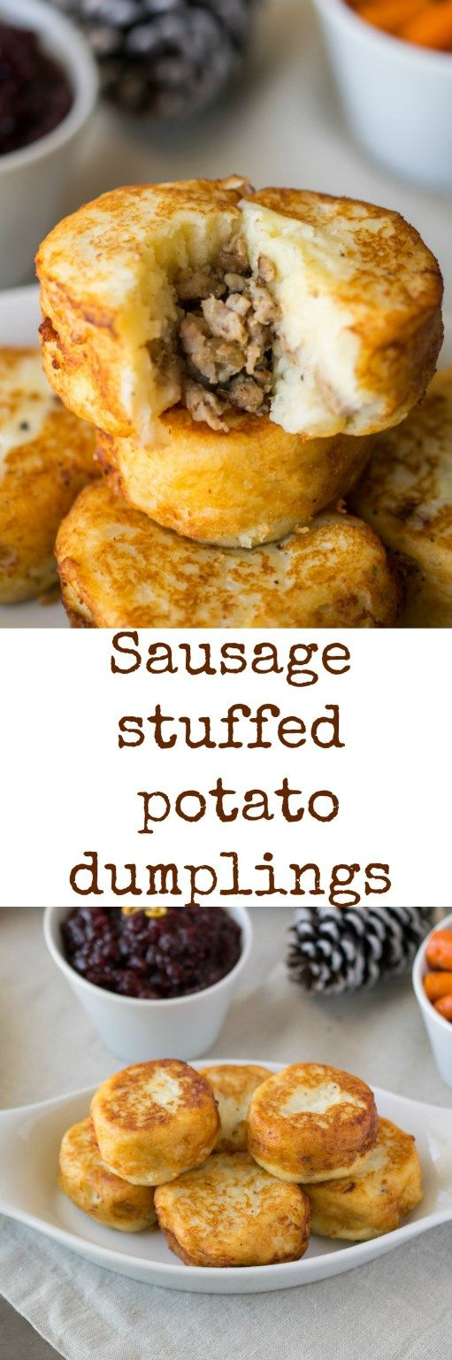 Sausage stuffed potato dumplings - Easy to make and a perfect holiday side dish. Shallow fried potato cakes filled with sausage. #BeholdPotatoes