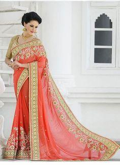 Sari indien orange Georgette                                                                                                                                                                                 Plus