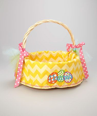 Another great find on #zulily! Yellow & White Personalized Easter Basket Liner by Sunshine Daydream Creations #zulilyfinds