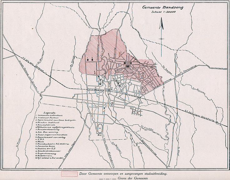 Kaart van Bandoeng 1918 - Archief van R.A. van Sandick.