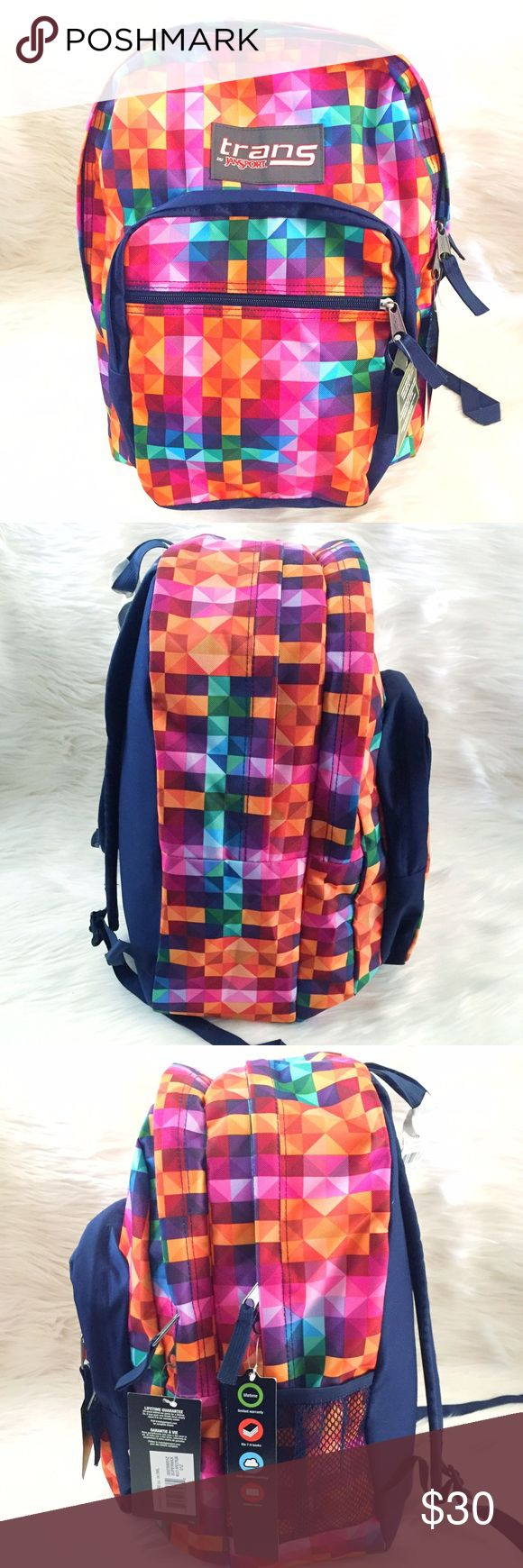 "Trans by Jansport Geometric Backpack Brand new with tags. This Trans by Jansport Multi Colored Geometric Backpack is so fun, bright and vibrant! Has 2 large zippered compartments, 2 smaller zippered pockets and 1 side mesh pockets. Has padded adjustable shoulder straps and a top loop for easy handling. Has a built in laptop sleeve pocket that fits laptops up to 15"". Measures 17"" H x 12.5"" W x 7.5"" D. Jansport Bags Backpacks"