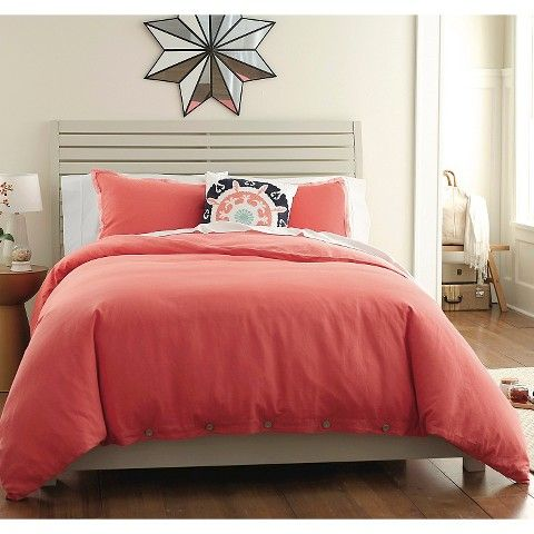 Threshold™ Washed Linen Duvet Set- coral duvet cover (cheaper than the crate and barrel one)