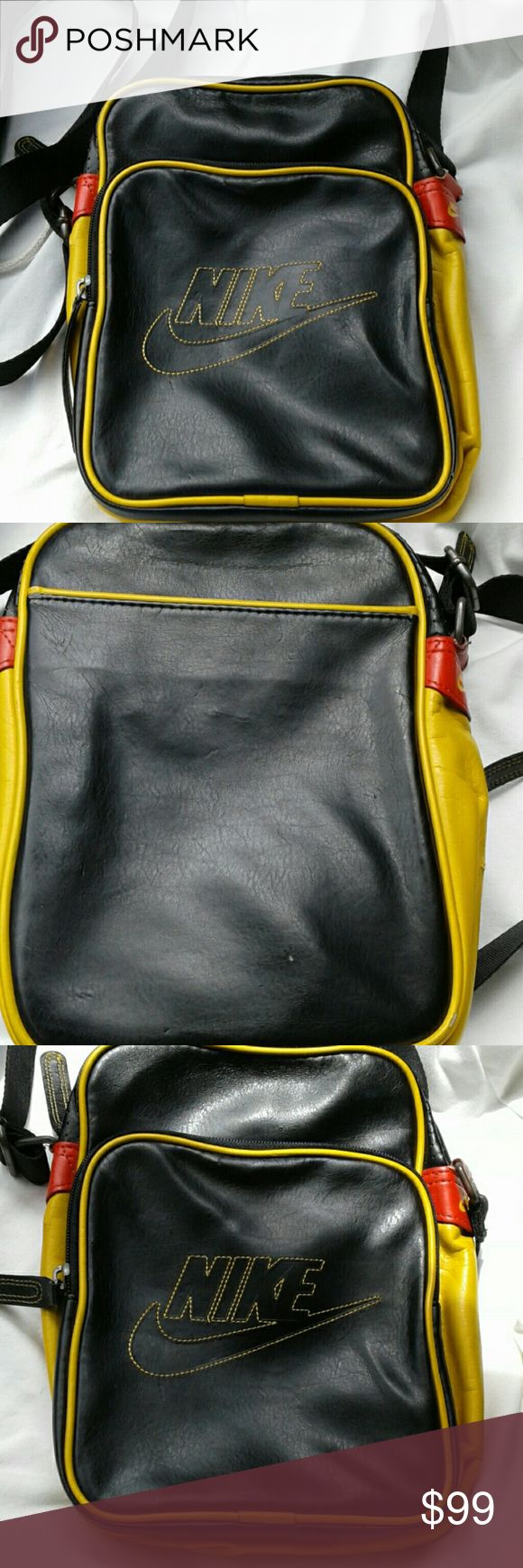 Make offer Nike crossbody travel bag unisex This is not a large bag BUT it holds a lot and is a must for any occasion when your on the go this summer great for traveling etc This is polyester so it looks like its leather has some minor scuffing but its not on front just on small area make offer Nike Bags