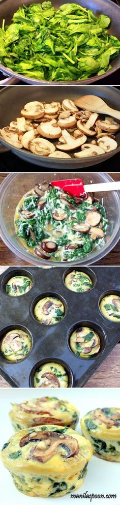 Spinach Quiche Cups~T~ spinach, eggs, cheese, mushrooms, cream, salt and pepper. Easy, low carb and gluten-free.