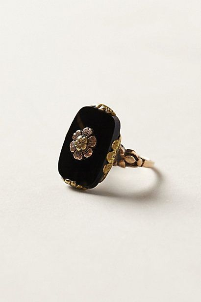 Vintage Onyx Bloom Ring #anthropologie I have a vintage onyx ring, necklace and bracelets that make a really cool Art Deco look, when I want to wear something no one else will be wearing.: