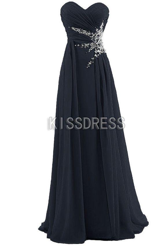 Black Sweetheart Custom Made Long Chiffon Prom Dress by kissdress