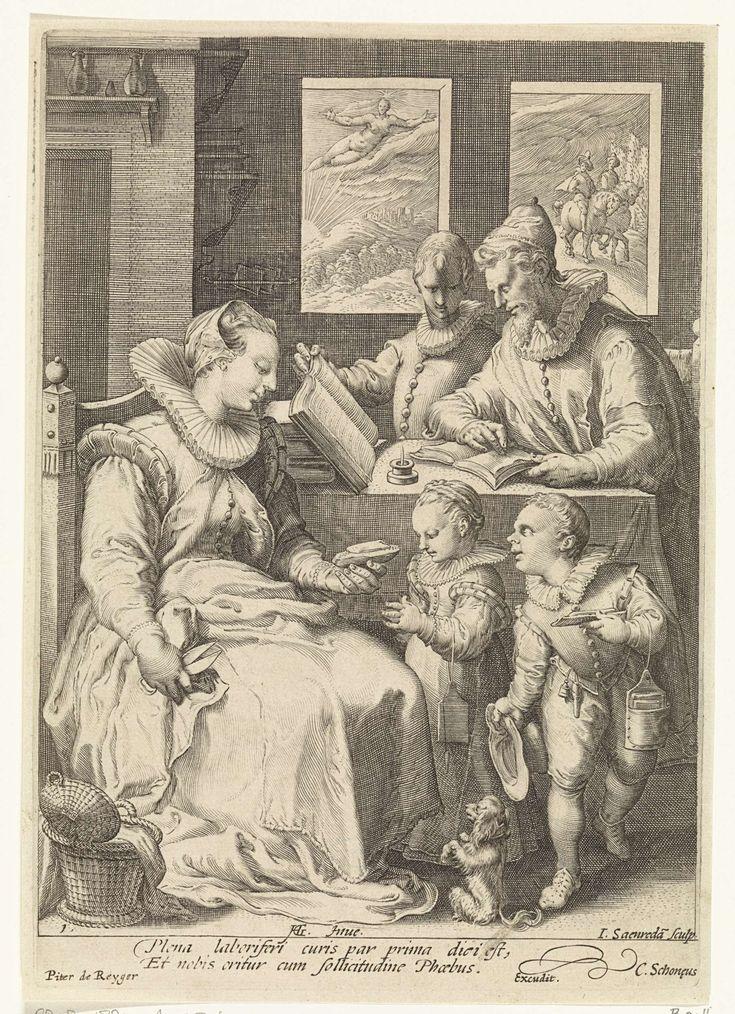 Jan Saenredam | De ochtend, Jan Saenredam, Cornelius Schonaeus, Pieter de Reyger, c. 1600 - c. 1700 | In een vertrek zit een moeder met een schaar in haar hand op een stoel. Een naaimand staat naast haar op de grond. Ze geeft een van de twee kinderen die aan haar schoot staan een boterham. Het meisje houdt de handen gevouwen in gebed. Het tweede kind heeft een boterham in de hand. Bij beiden hangt de schoollei aan de arm. Een hondje zit in vragende houding op de grond. Achter hen staat de…