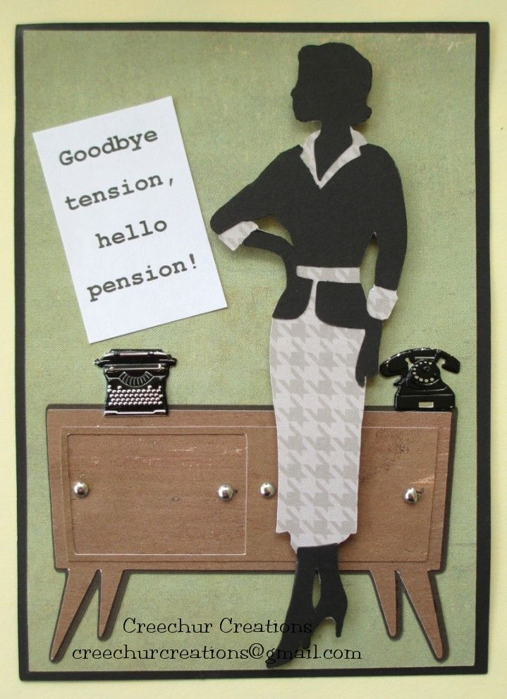 Retirement card made with images from the Suburbia Cricut Cartridge and retro typewriter and telephone brads from EyeletOutlet.com