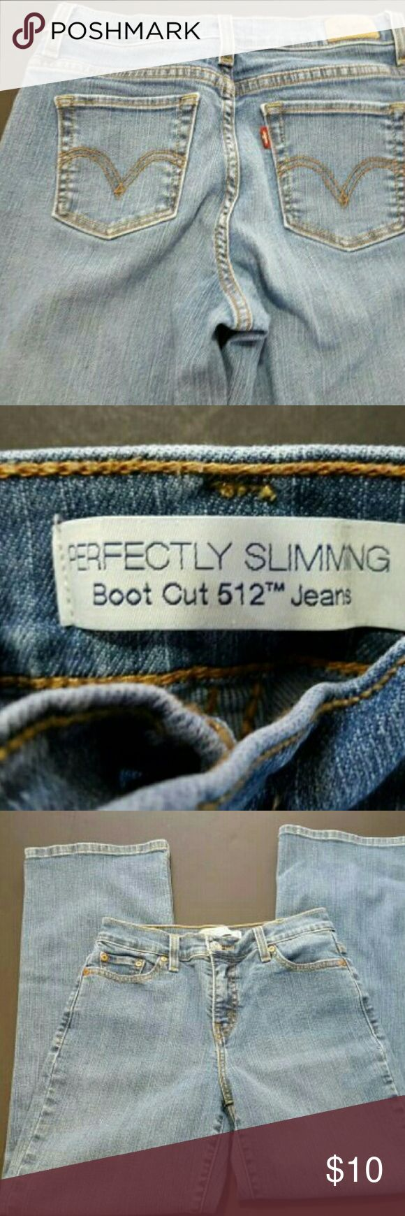 """LEVI'S 512 PERFECTLY SLIMMING BOOTCUT  JEANS GUC LEVI'S 512 PERFECTLY SLIMMING BOOTCUT  JEANS GUC  This is a great condition pair of jeans from LEVI'S! They are a women's size 6 in a boot cut style. Laying flat the waist measures 13.75"""" and the inseam is 30.5"""". They are a light wash with a good amount of stretch. These are pre-owned and some signs of use should be expected.? Levi's Jeans Boot Cut"""
