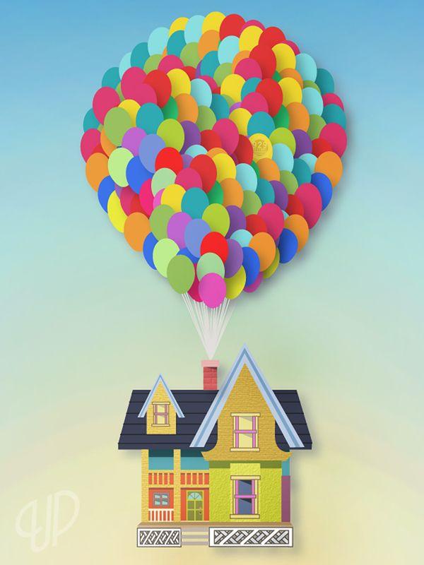 """Frederickson Home"" by Robbie Thiessen, via Behance. #up #disney #balloons"